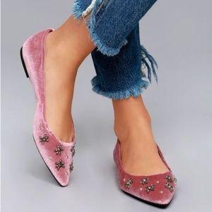NEW Sam Edelman jeweled pink Velvet Flats 8.5